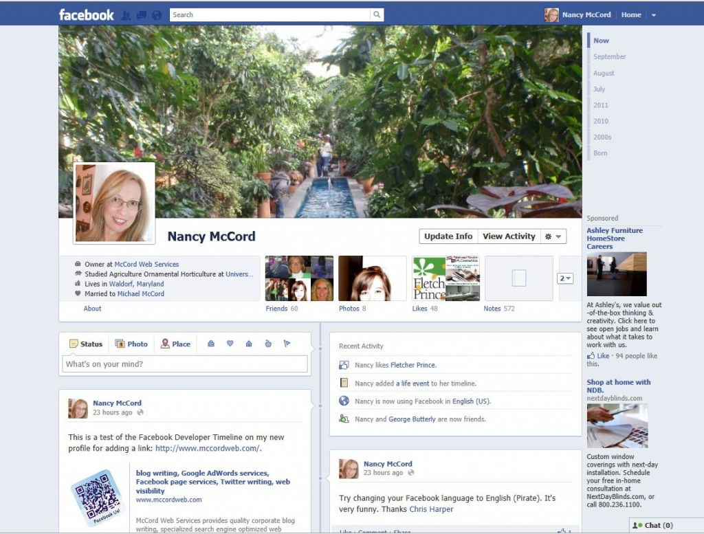 The new look for Facebook personal profiles.