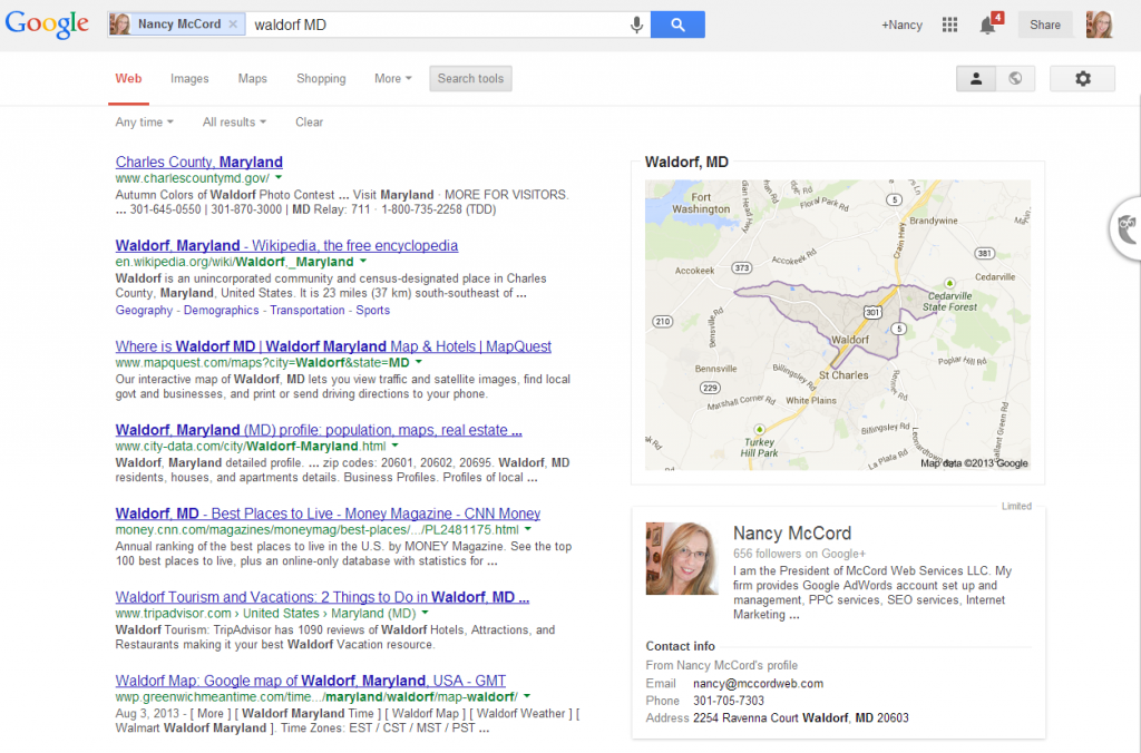 Screen shot showing location specificity and map on the right.