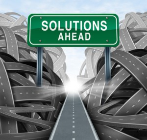 Solutions ahead and business answers concept with a green